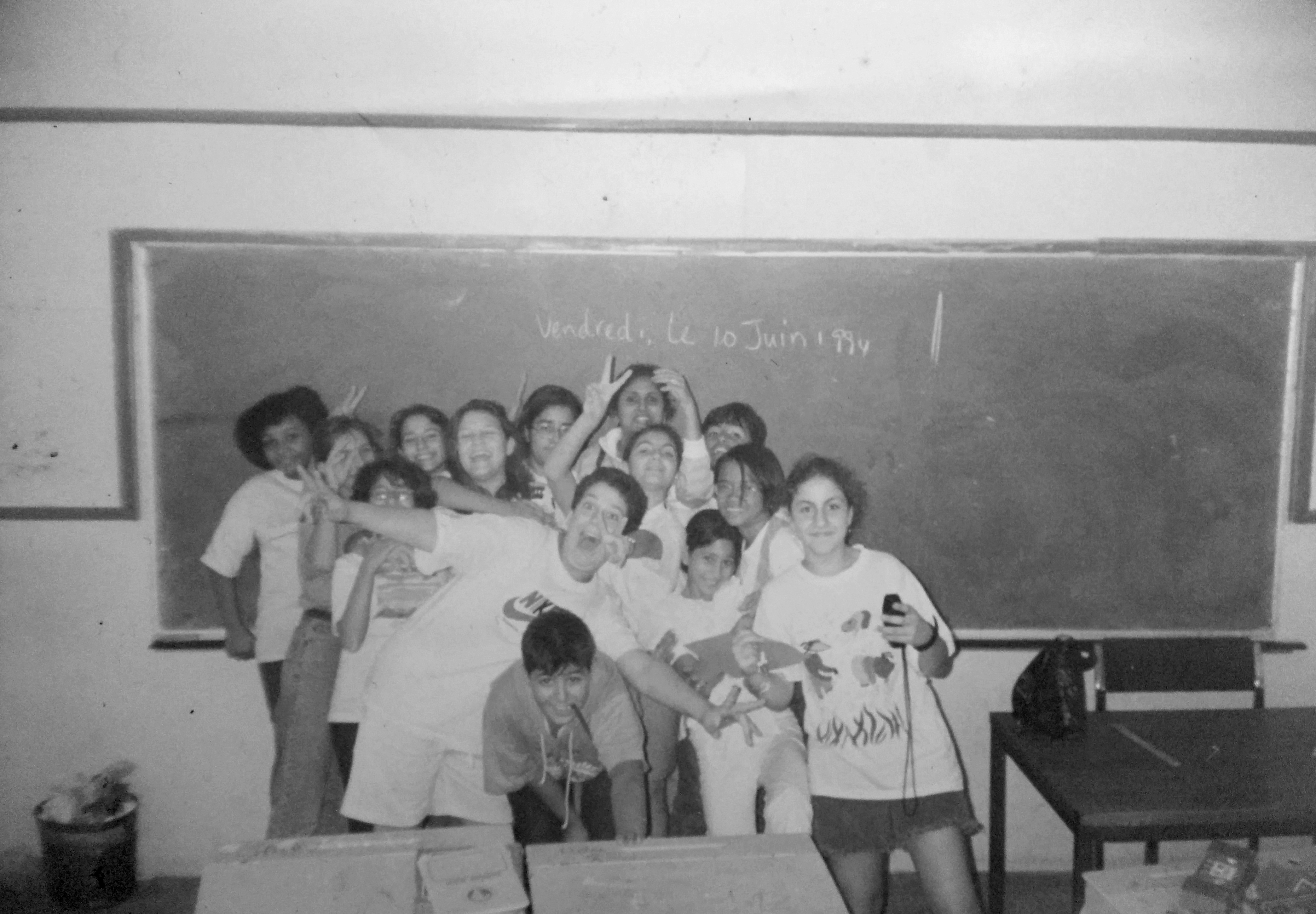 Nisreen Kaj, far left corner, at Lebanese Community School, Lagos, Nigeria, 1994